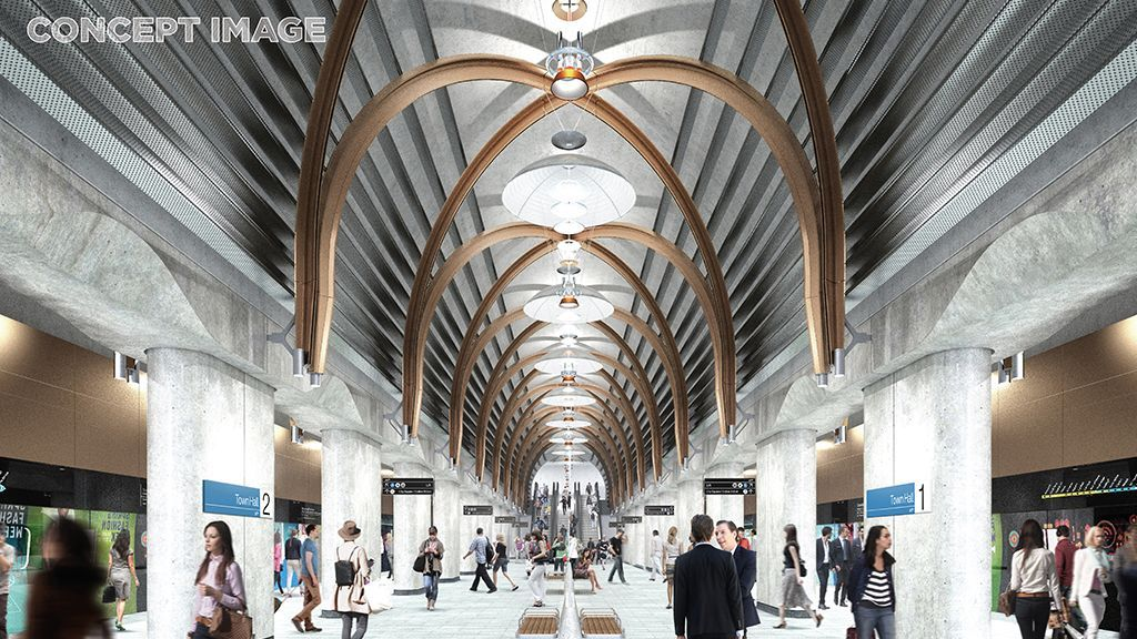 Town Hall and State Library Station will both feature sweeping arches on their platforms