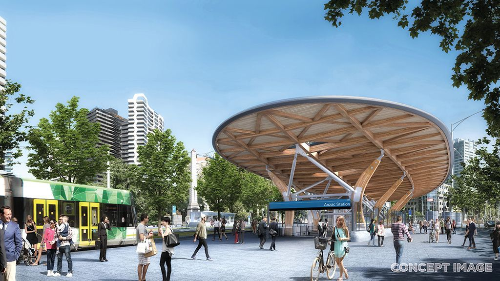 An architecturally-designed canopy will shelter Anzac Station at street level