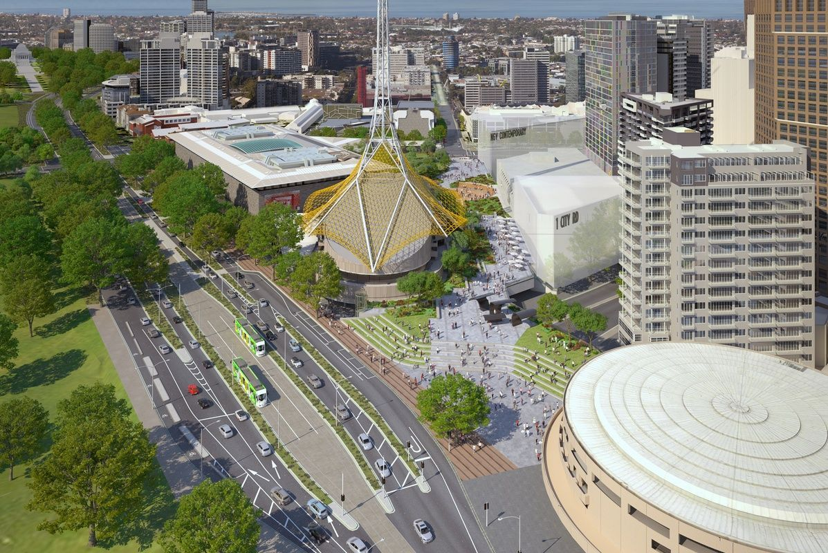 Early concept image showing the new site for NGV Contemporary
