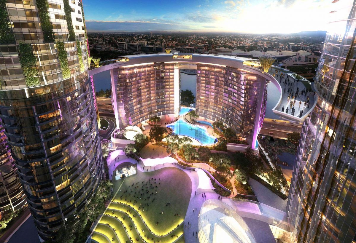 Artist's impression of the Queens Wharf redevelopment in Brisbane, by the Destination Brisbane Consortium - set to be home to 1600 new rooms by 2022.