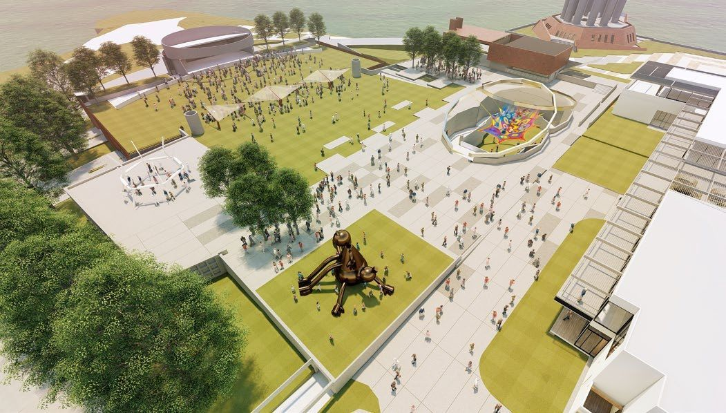 An artist's impression of the outdoor playgrounds and performance area.