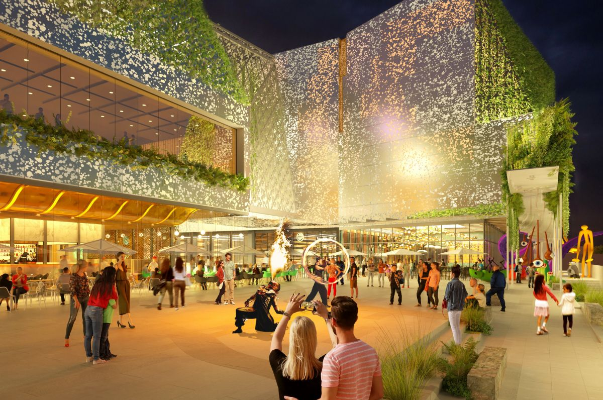 The upgraded shopping centre would include a station plaza, providing better connections to the nearby Macquarie University Station. Image: NH Architecture and Hames Sharley
