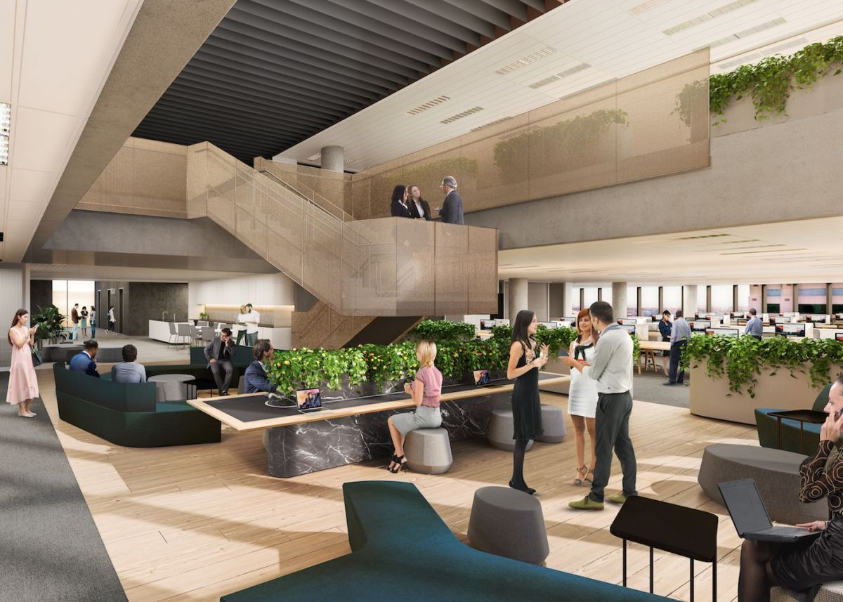 Floorplates at 83 Pirie can be merged to create vertical workplace communities. Image: Supplied