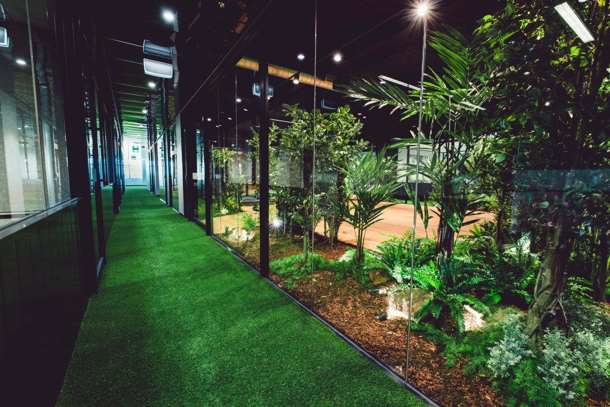 Even the floors of the common areas on The Jungle Floor are covered with artificial grass. Photo: Supplied