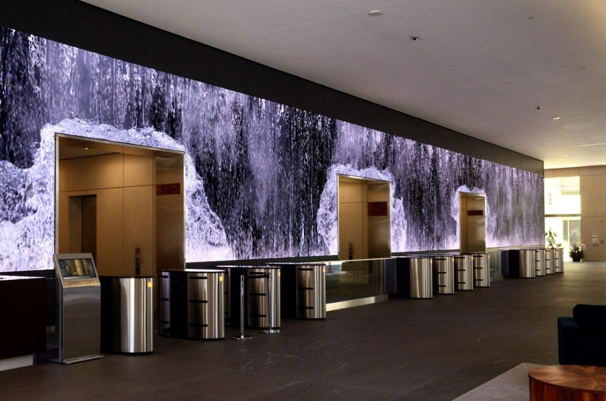 The digital wall displays moving graphics on a 32m screen at Salesforce's San Francisco head office. Photo: SNA Displays