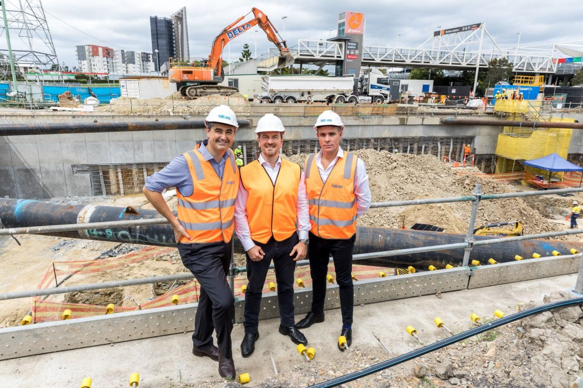 Gold Coast City Councillor Hermann Vorster, Quest's James Shields and Pellicano's Michael Kent at the groundbreaking ceremony. Photo: Supplied