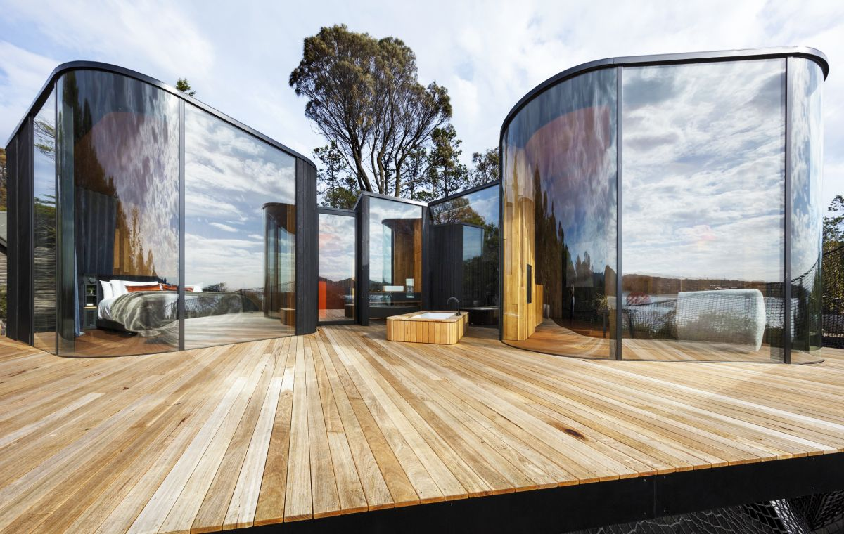 Timber and glass are key design elements in the Freycinet Lodge Coastal Pavilions by Liminal Architecture. Photo: Dianna Snape