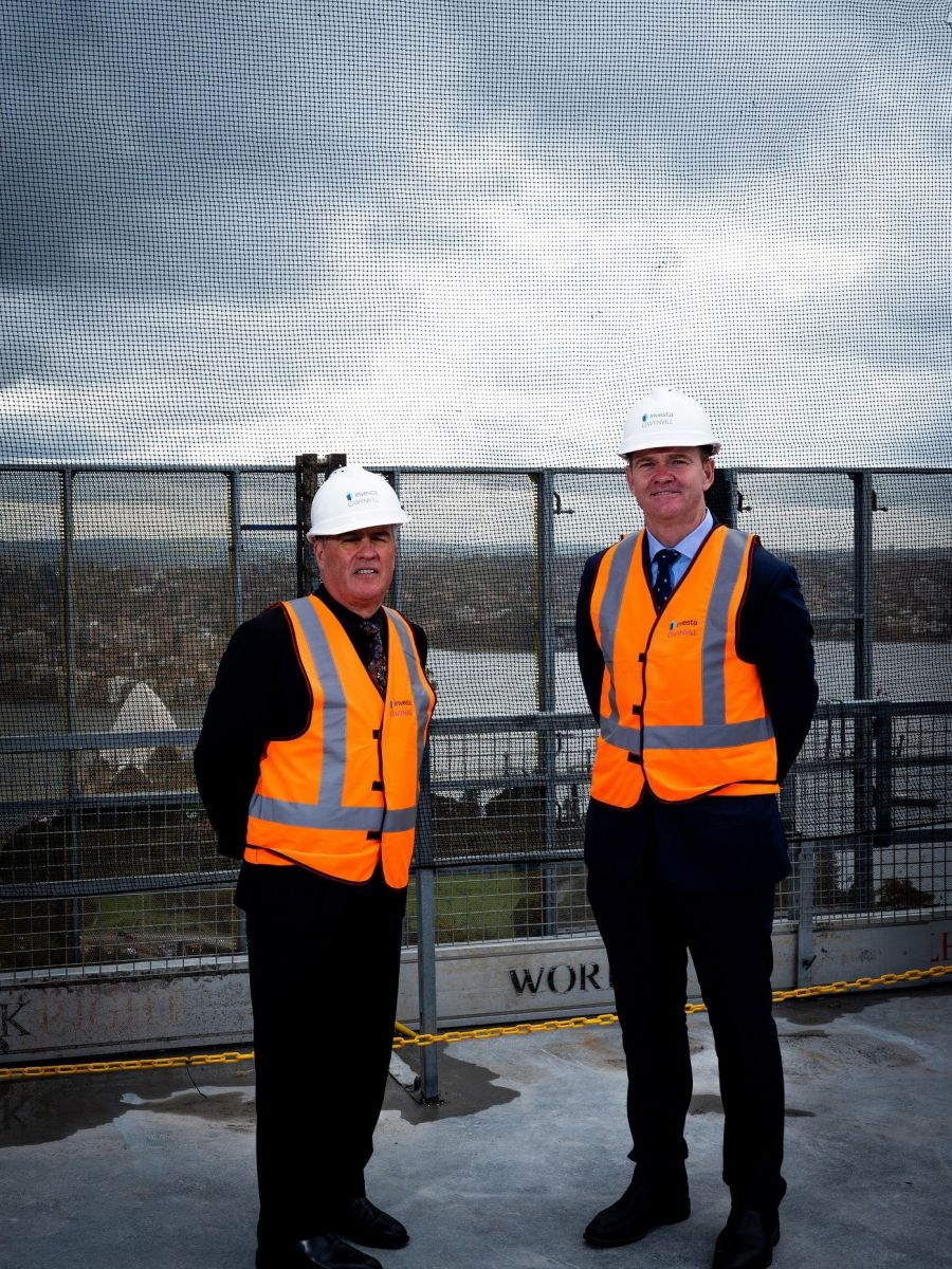 Investa's Michael Cook and Mark Tait at the topping out ceremony of 60 Martin Place, overlooking the Sydney Harbour. Photo: Supplied