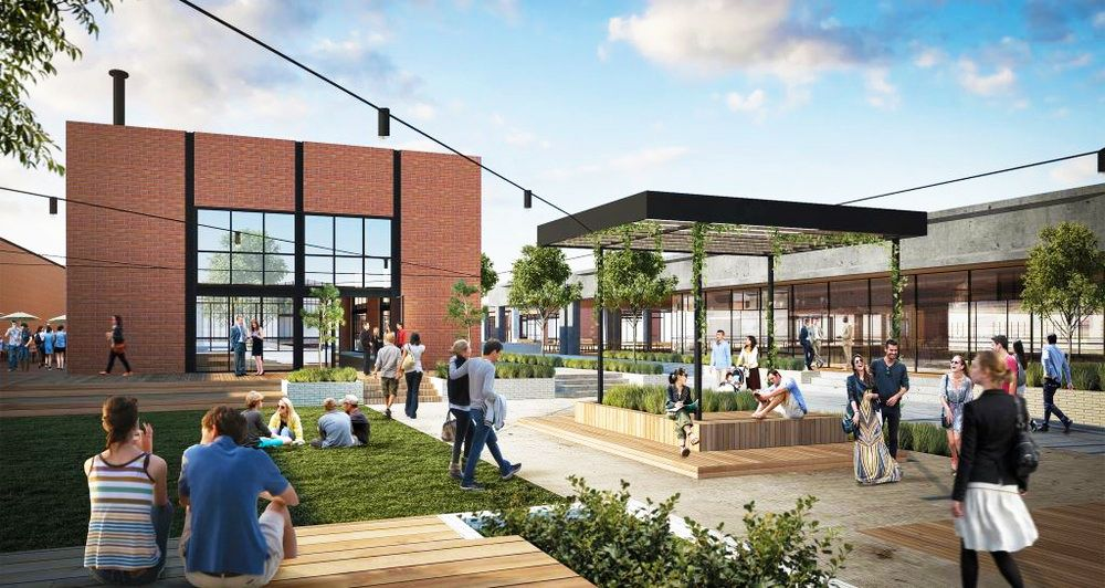 An artist's impression of the new brewpub (left) and outdoor area. Image: Stomping Ground