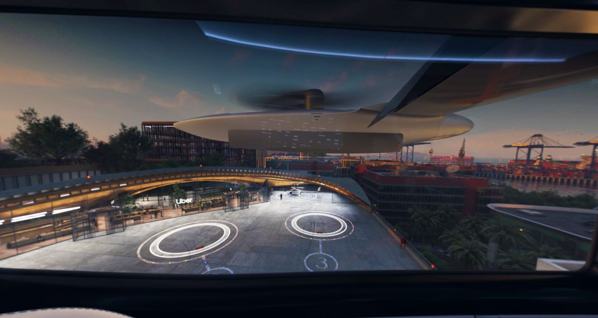 Artist's impression of an Uber 'Skyport', as seen from inside the aircraft. Image: Uber Air