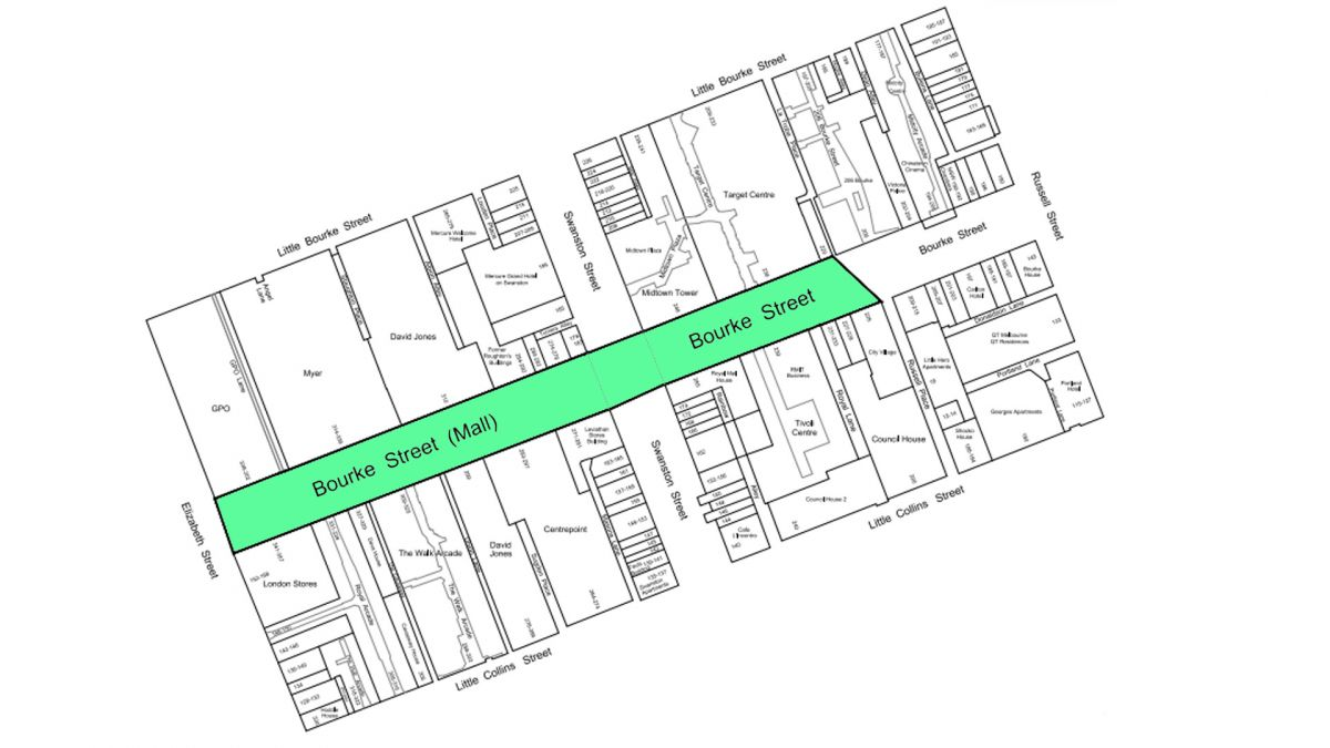 Proposed Smoke-Free Area on Bourke Street between Elizabeth Street and Russell Place.