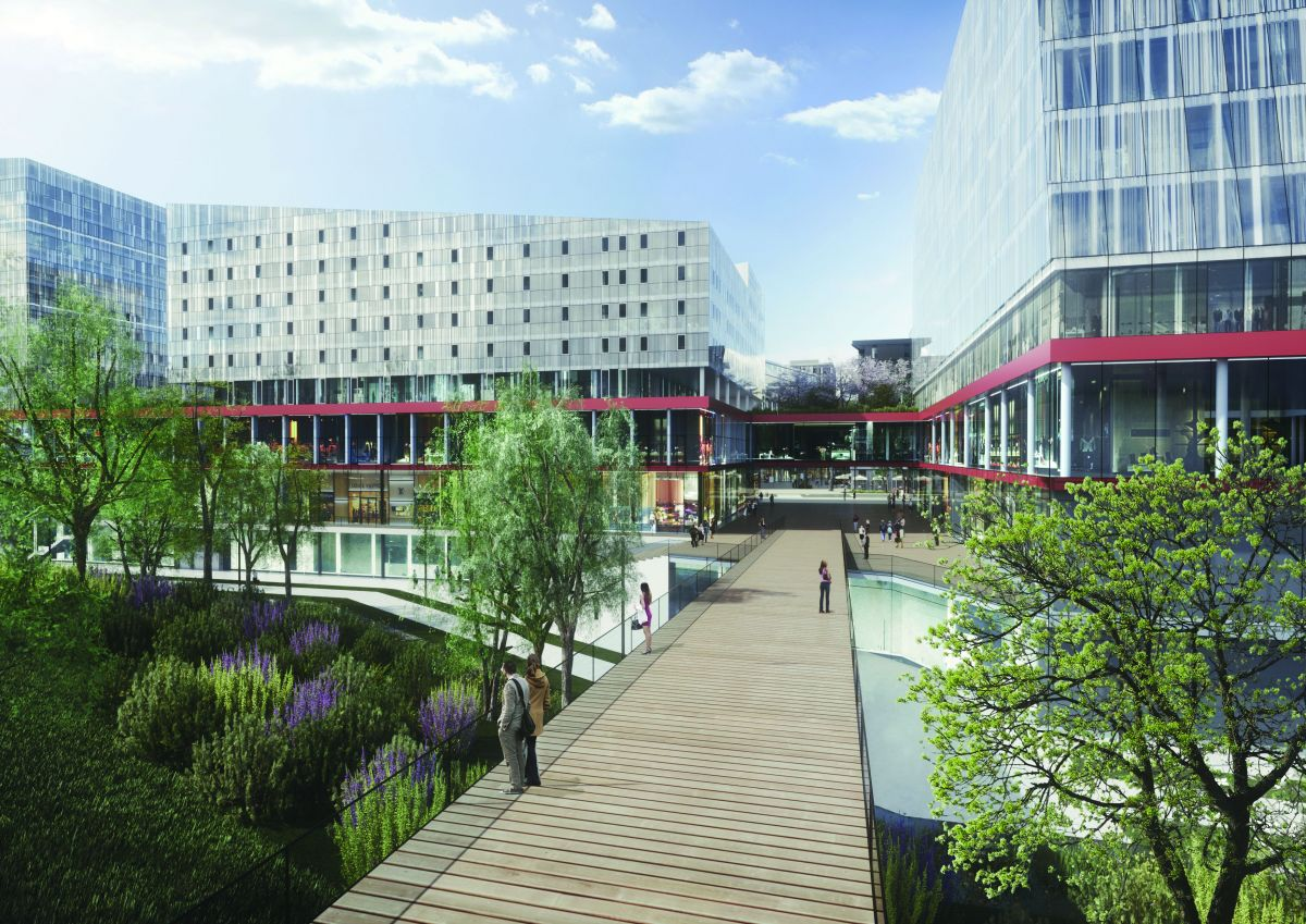 Adina Apartment Hotel Geneva (on the right) will be set within the 11 ha lifestyle precinct of Quartier de L'Étang. (Image: TFE Hotels)