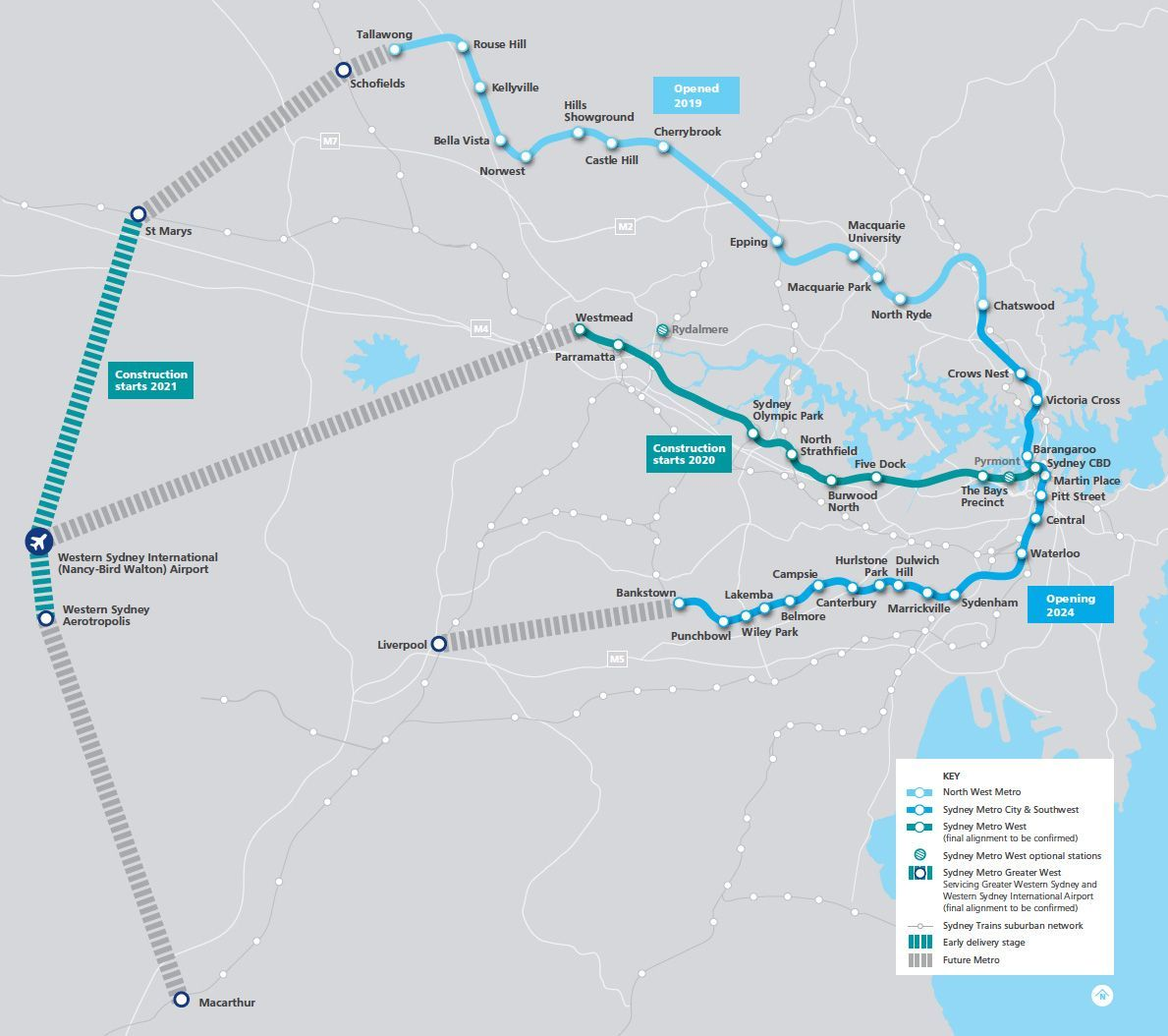 Map of confirmed and potential new station locations. (Image: Sydney Metro)