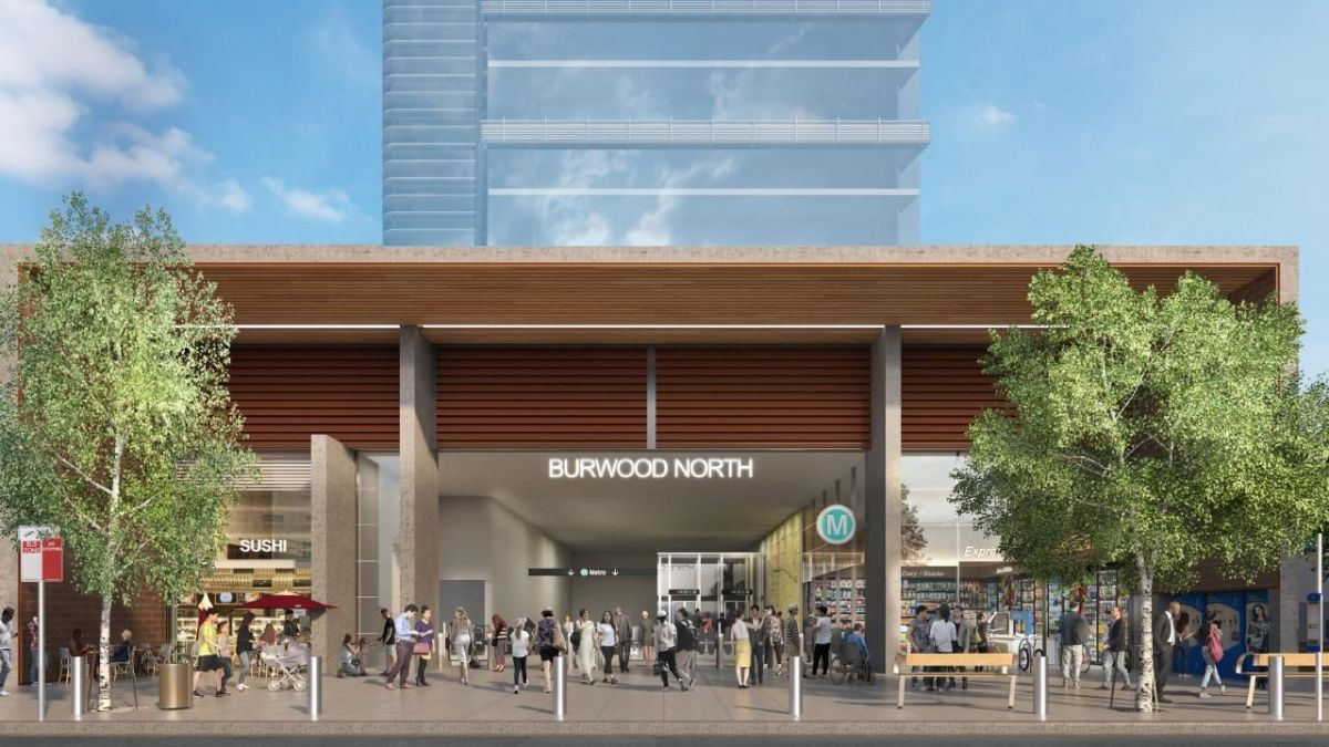 Artist impression of proposed Burwood North metro station. (Image: Sydney Metro)