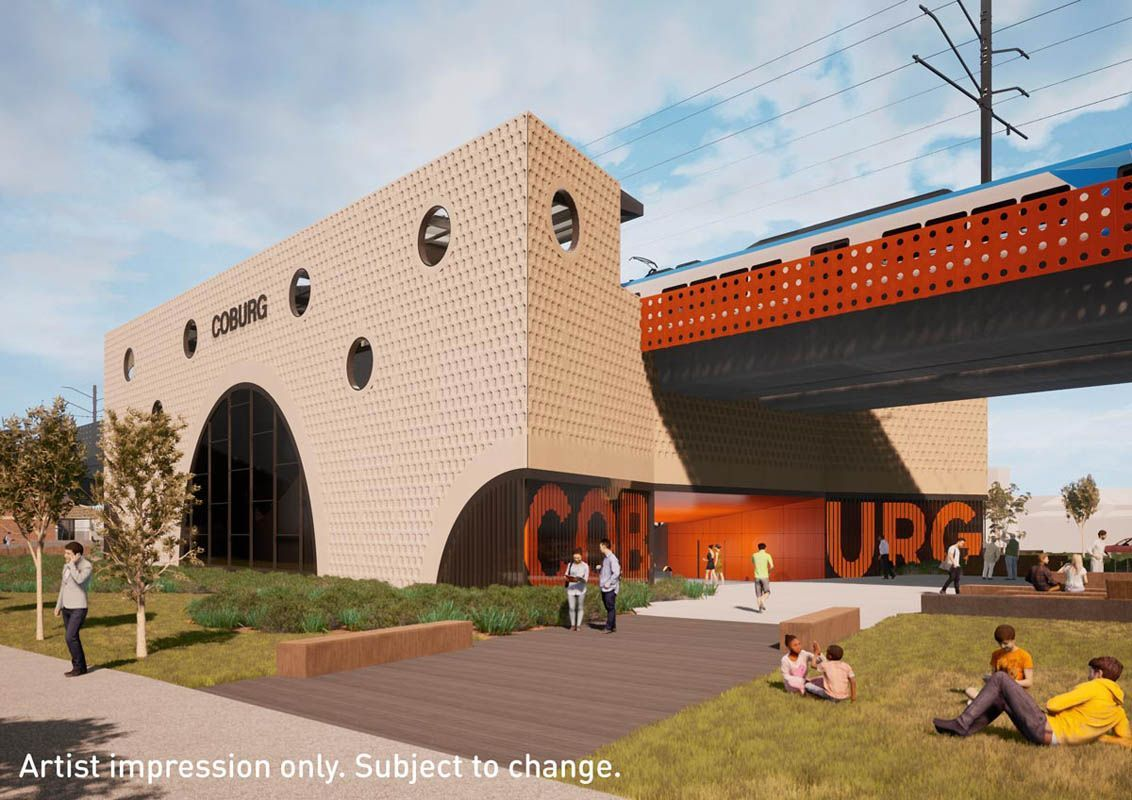 Artist impression of the new Coburg Station. (Image: State Government of Victoria)