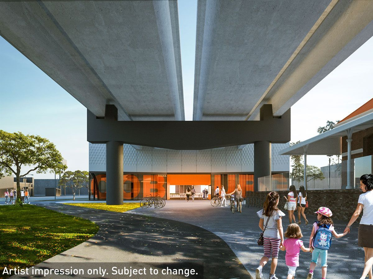 Southern entry to the new Coburg Station. The elevated rail facilitates will improve pedestrian and cycling connections. (Image: Level Crossings Removal Project)
