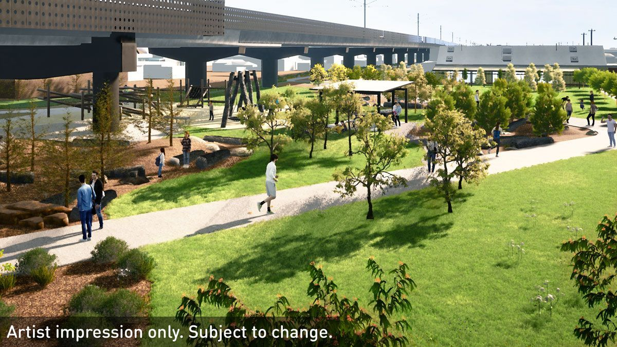 Community open spaces around the new Moreland station will include landscaped gardens, a nature playground and barbeque facilities. (Image: Level Crossings Removal Project)