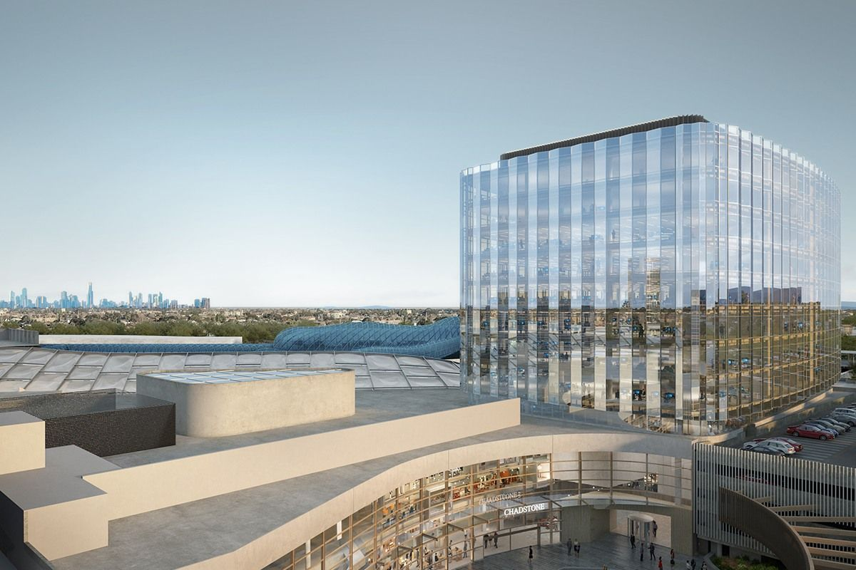 Artist impression of the proposed 9-storey commercial tower with a landmark entry on Middle Road. (Image: Chadstone)