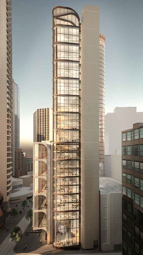 The tripartite composition of 210-220 George Street – a low-rise podium section with ground level retail, a high-rise glazed section, and a side concrete core to maximise contiguous floor plate sizes. (Image: Grimshaw)