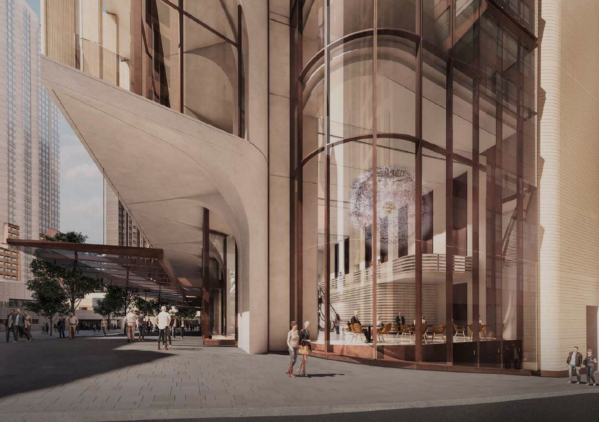 The triple storey lobby at the corner of George and Dalley Streets provide opportunities of further activating the public realm through large scale public art. (Image: Grimshaw)