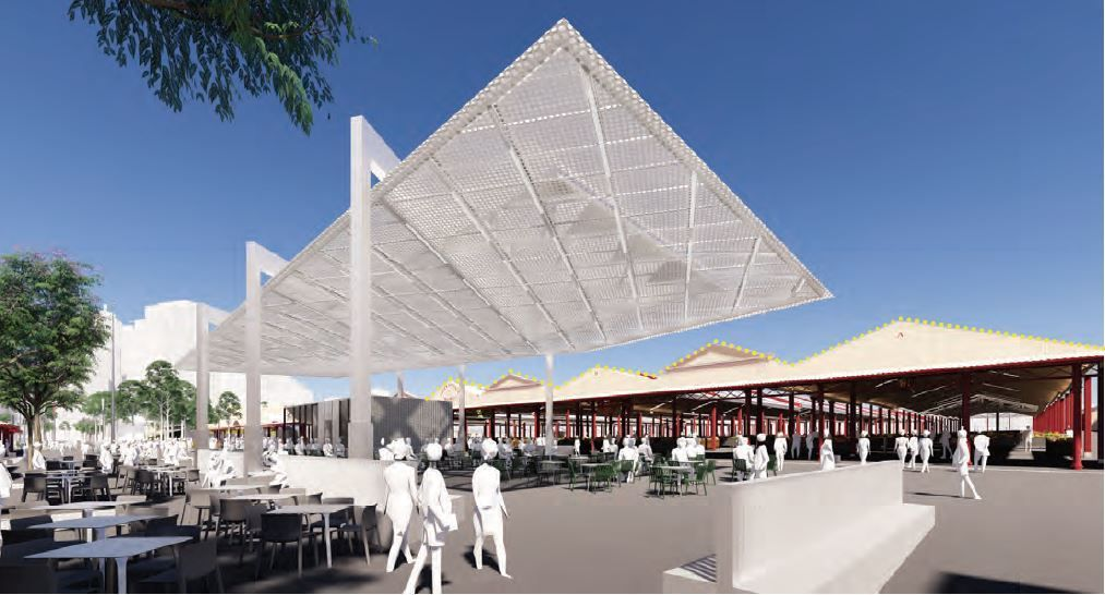 The lightweight canopy structure of the Northern Shed provides an open space for the public. The slender and minimal columns, together with the thin folded back shelter, maximises the ground floor space will also enabling views of the rest of the market's rooflines. The perforated translucent canopy creates a somewhat theatre-like view of the play between light and shadow on the ground.
