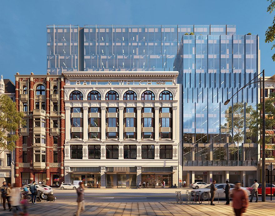 The design of the project takes its inspiration from the exquisite detail and craftsmanship on the prominent heritage façade as well as the Ball and Welch building's past. SJB's design features fine vertical and horizontal elements that dynamically 'dance' across the glazed façade, referencing drapes from the Ball and Welch's history.