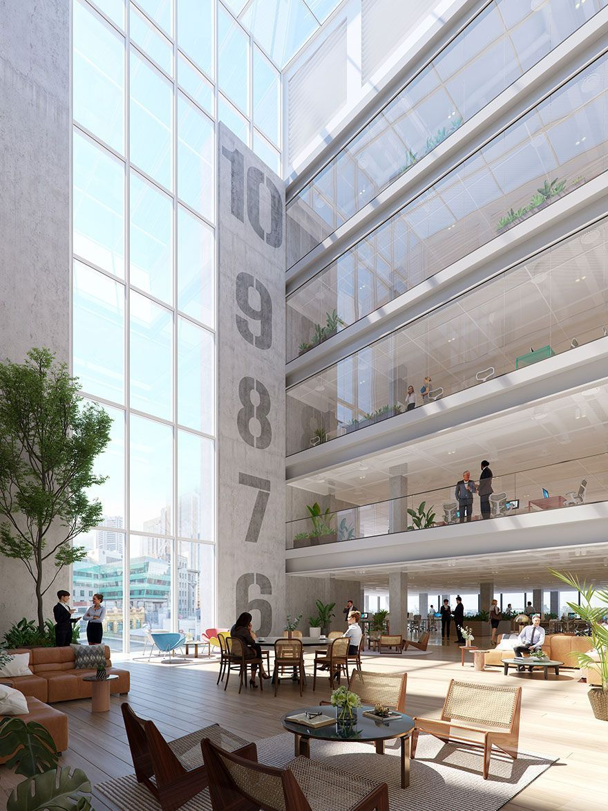 The 21,000 sqm A-Grade commercial tower on 180-189 Flinders Street will include a light filled atrium space.