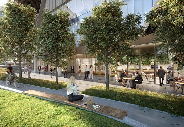 1000 La Trobe Street's ground floor has a range of flexible workspaces and amenities, including a café, wellness facilities, and landscaped areas for working or relaxing.