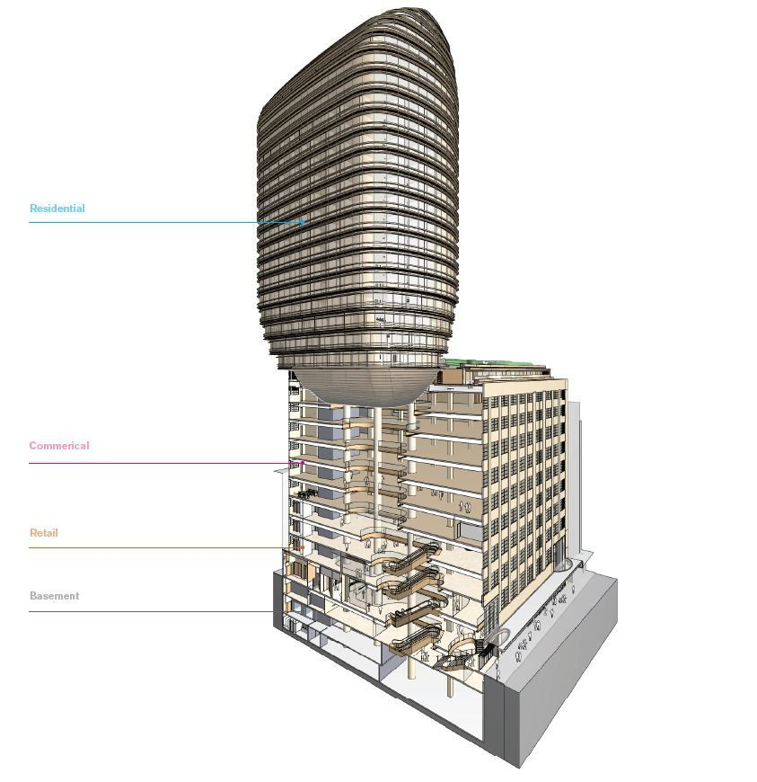 Image: The scheme proposes a curved residential tower suspended above the commercial podium. The three components of the development are connected by an atrium, enabling visual links to the base of the 'floating' tower while also letting natural light into the retail and office spaces.