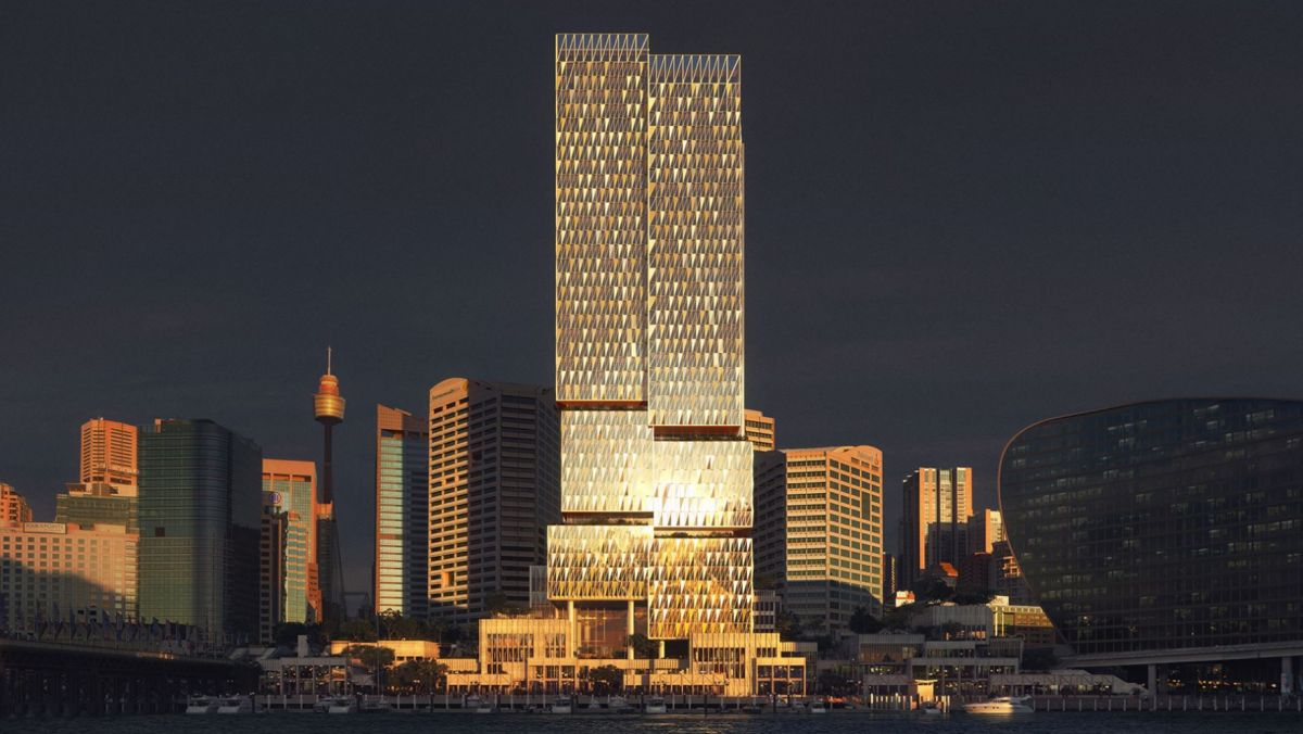"The proposal consists of a 183m commercial tower sitting on top of a public plinth with retail and public spaces. The firm described the design as creating an ""eye-level experience"" responding to the development's two scales - the city scale, where the tower joins the skylines, and the village scale, where people move between the city centre and the waterfront. The firm proposes a form whereby ""Cockle Bay Park's unbroken silhouette slips seamlessly among the towers of Sydney's CBD, breaking down into more human-scaled pieces as it reaches the public and retail spaces at the ground level."""