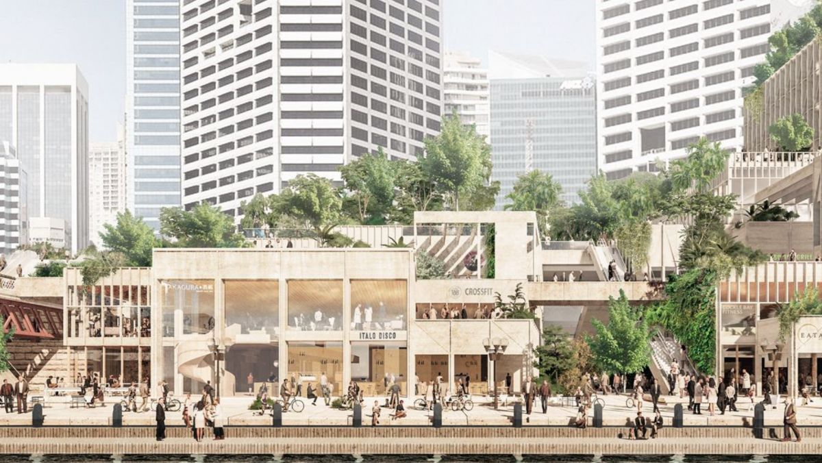The retail offering in the podium section of the proposal forms part of the public realm, with public parks and walkways woven through the permeable ground plane.