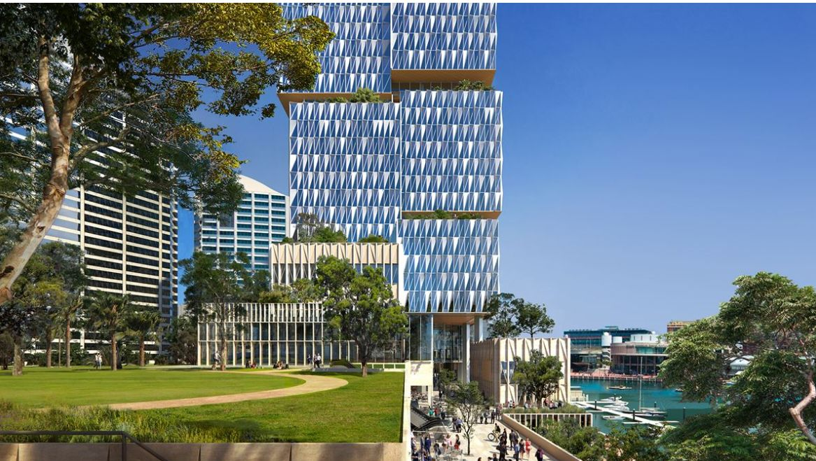 The design features a public plinth that straddles the expansive public park, which also includes an elevated public space to maximise waterfront views.