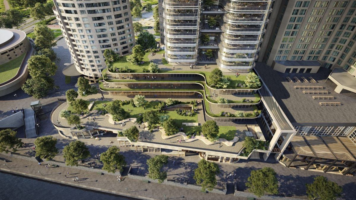 The masterplan that will form a permeable link between the river and its Southbank neighbours, consists of 4,000 sqm of landscaped open spaces, including the terraced elevated parkland situated on the podium of the proposed 21-storey office tower.