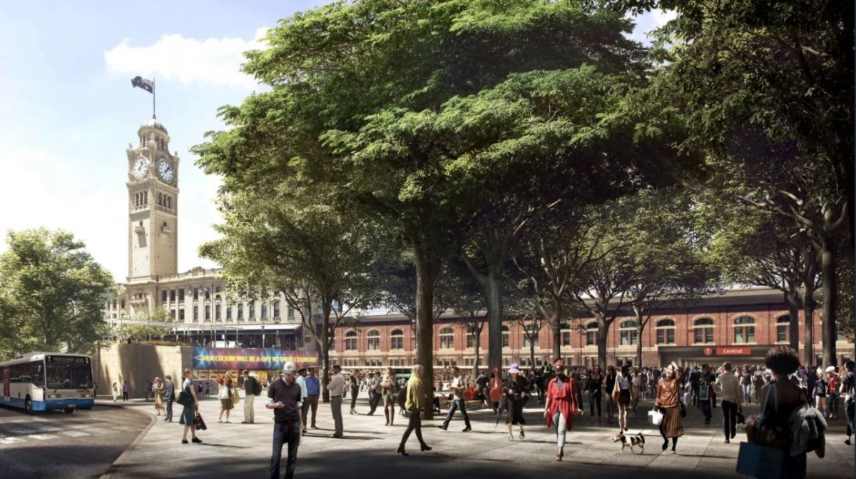 Together with Light Rail and Metro projects, the precinct will enable the realisation of an integrated transport connection that includes public spaces for users to relax and tree-lined linkages for pedestrians. (Image: City of Sydney)