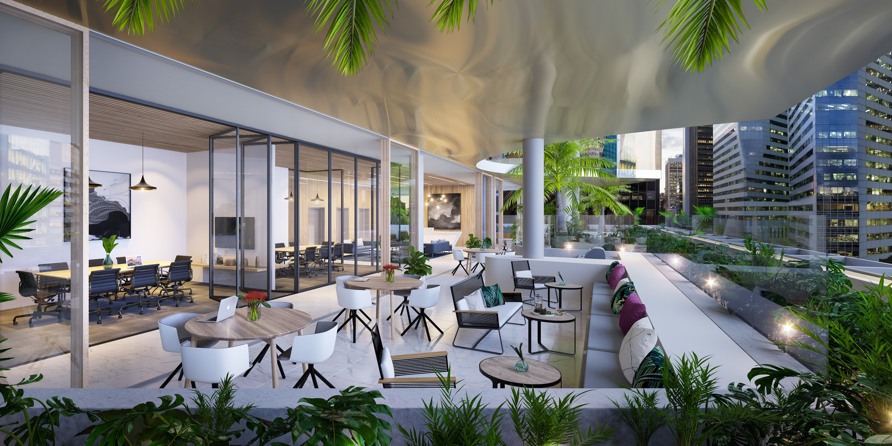 BVN's design connects the indoors to the outdoors through a series of gardens cascading from the Sky Terrace